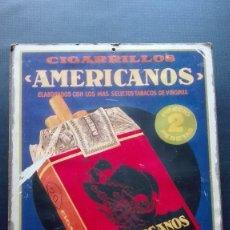 Carteles: CARTEL PUBLICITARIO CIGARRILLOS AMERICANOS.. Lote 194495442