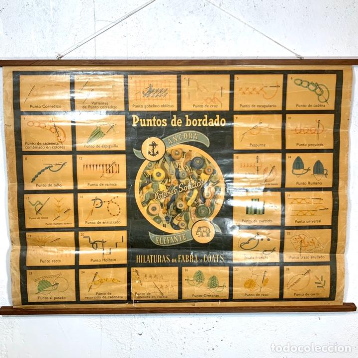 ANTIGUO Y GRANDE CARTEL PUBLICITARIO ANCORA ELEFANTE - HILATURAS FABRA Y COATS - TIPOS DE PUNTO (Coleccionismo - Carteles y Chapas Esmaltadas y Litografiadas)