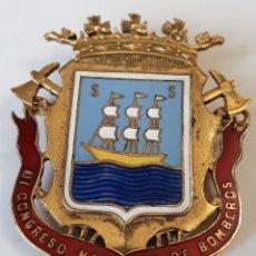Carteles: CHAPA ANTIGUA DEL III CONGRESO INTERNACIONAL DE BOMBEROS SAN SEBASTIAN AÑO 1963. Lote 194536746