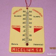 Carteles: ANTIGUO CARTEL CON TERMÓMETRO PUBLICIDAD DE MICELIUM S.A. SEMILLAS DE CHAMPIÑÓN EN BETERA. Lote 194561240