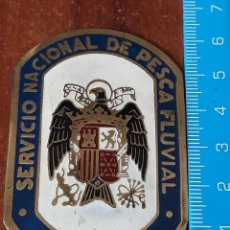 Carteles: CHAPA ANTIGUA SERVICIO NACIONAL DE PESCA FLUVIAL GUARDA. Lote 194589767