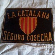 Carteles: CHAPA SEGUROS LA CATALANA INCENDIOS. Lote 194616381