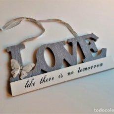 Carteles: CARTEL DE LETRAS LOVE EN MADERA PARA COLGAR - 28 X 14.CM APROX. Lote 194638795