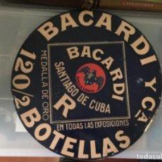 Carteles: CARTEL CHAPA BACARDI Y Cª. SANTIAGO DE CUBA. 120/2 BOTELLAS. 41 CM DIAMETRO. Lote 194769773
