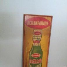 Carteles: CHAPA PUBLICIDAD GASEOSA LA FLOR DE VALENCIA, ACHAMPAÑADA , ANTIGUA , ORIGINAL. Lote 194770726