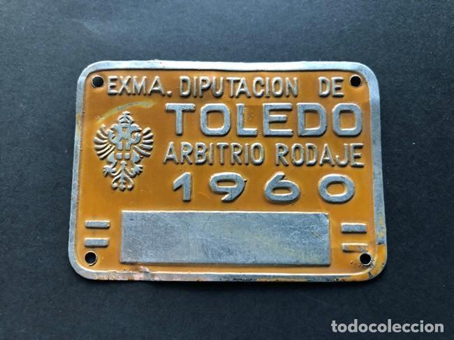 ANTIGUA MATRICULA / TOLEDO / RODAJE AÑO 1960 ( 7 X 5 CM. ) (Coleccionismo - Carteles y Chapas Esmaltadas y Litografiadas)