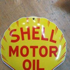 Carteles: CHAPA DE HIERRO ESMALTADA SHELL MOTOR OIL. Lote 195077415