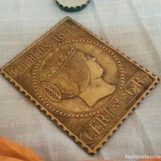 Carteles: PLACA DE CORREOS EN BRONCE. AÑOS 90.. Lote 195082216
