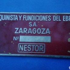 Carteles: CHAPA DE COBRE ,MAQUINISTA Y FUNDICIONES DEL EBRO , NESTOR , ZARAGOZA. Lote 195133030