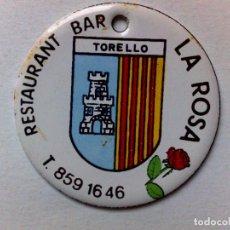 Carteles: CHAPA PUBLICITARIA METÁLICA ESMALTADA,RETAUARANT-BAR LA ROSA DE TORELLO.. Lote 195175681