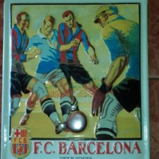 Carteles: CHAPA ESMALTADA PUBLICITARIA PARTIDO FC BARCELONA CONTRA ATLÉTICO DE BILBAO ANTES CAMPEÓN DE BISCAIS. Lote 195191208