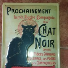 Carteles: CHAPA ESMALTADA PUBLICITARIA CABARÉ FRANCÉS LE CHAT NOIR. Lote 195191683