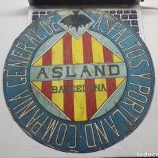 Carteles: CARTEL ASLAND BARCELONA COMPANIA GENERAL DE ASFALTOS Y PORTLAND. Lote 195204700