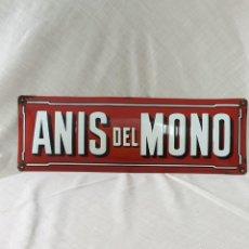 Carteles: ANIS DEL MONO CHAPA - PLACA ESMALTADA ORIGINAL MUY ANTIGUA. Lote 195206106