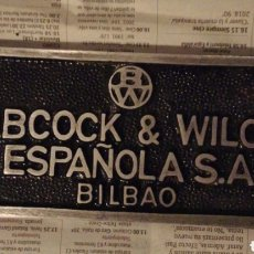 Carteles: PLACA FERROCARRIL BABCOCK & WILCOX. Lote 195338698