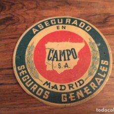 Carteles: CHAPA DE SEGUROS , CAMPO , MADRID, RELIEVE, SEGUROS GENERALES. Lote 195407355