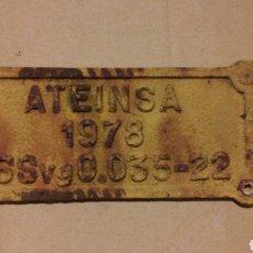 Carteles: PLACA FERROCARRIL ATEINSA. Lote 195484810