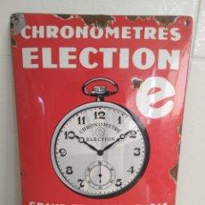 Carteles: ANTIGUO CARTEL ESMALTADO CRONÓMETROS ELECTION 1920. Lote 195513608