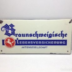 Carteles: CHAPA ESMALTADA - PLACA DE SEGUROS AKTIENGESELLSCHAFT - SEGUROS ALEMANIA - MADE IN GERMANY . Lote 197993252