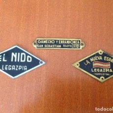 Carteles: CHAPAS ETIQUETAS LA NUEVA ESPAÑA Y EL NIDO - LEGAZPIA (GUIPUZCOA).GAMECHO Y ERRANDONEA.. Lote 198556090