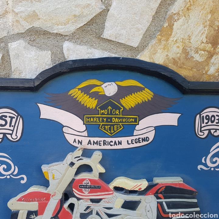 Carteles: LETRERO HECHO A MANO EN MADERA HARLEY - Foto 3 - 200002228