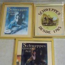 Carteles: LOTE TRES CUADROS ESPEJOS PUBLICIDAD DE TONICA SCHWEPPES GINGER ALE. Lote 48218104