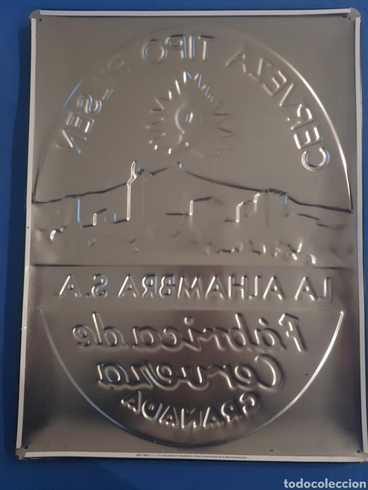 Carteles: Cartel Chapa Metalica en Relieve ,Cerveza La Alambra .,años 1990 - Foto 2 - 201154055