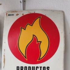 Carteles: CARTEL LETRERO ANTIGUO DE CHAPA PRODUCTOS INFLAMABLES IDEAL DECORACION VINTAGE INDUSTRIAL PUBLICIDAD. Lote 202862745