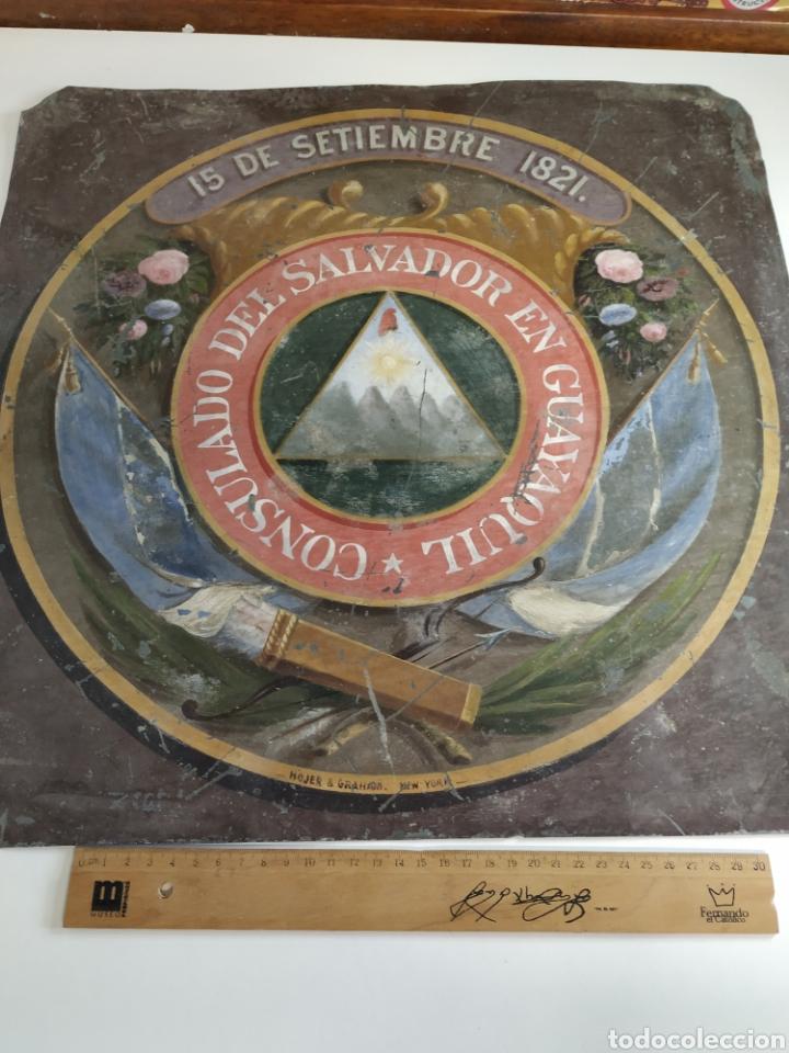Carteles: Chapa pintada a mano consulado del Salvador en guayaquil - Foto 2 - 203270496