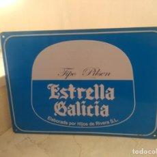 Carteles: ANTIGUA PLACA AUTENTICA ESTRELLA DE GALICIA. Lote 204704640