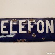 Affiches: ORIGINAL PLACA ESMALTADA TELEFONO, (MUY GRANDE 75X25), AÑOS 40 - 50. Lote 204793705