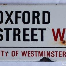 Carteles: OXFORD STREET W1. CITY OF WESTMINSTER. GARNIER & CO. LTD. PLACA ESMALTADA ANTIGUA. Lote 205129131