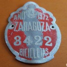 Affiches: MATRICULA BICICLETA N° 3422 ZARAGOZA 1972. Lote 207134131