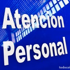 Carteles: LETRERO ATENCION PERSONAL CHAPA METACRILATO AZUL PLACA USADA CARTEL DECORATIVO TRANSLUCIDO. Lote 210346358