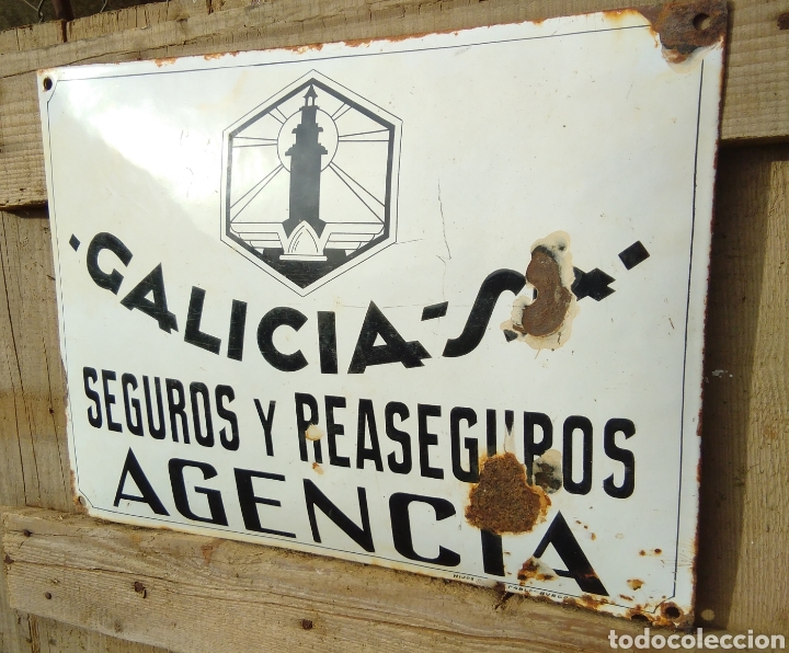 Carteles: Placa esmaltada y abombada Seguros Galicia - Foto 2 - 210346437