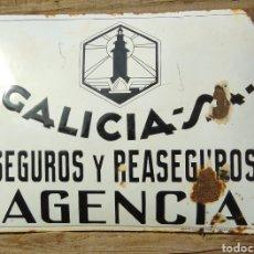 Carteles: PLACA ESMALTADA Y ABOMBADA SEGUROS GALICIA. Lote 210346437