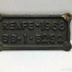 Carteles: ANTIGUA PLACA DE FERROCARRIL - VAGON - RENFE - 1968 - BB - 1 - 5292. Lote 210554218