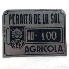 Carteles: ANTIGUA MATRICULA / AGRICOLA / PERALTA DE LA SAL ( HUESCA ) AÑO 1948 / 15,5 X 11,5 /. Lote 212481152