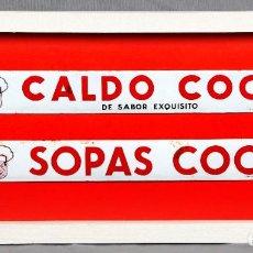 Affissi: 2 CARTELES ESMALTADOS CALDO Y SOPAS COCI-ENMARCADO ORIG.100%,EXCELENTE ESTADO,NO RESTAURADA-PLURIMA. Lote 212881708