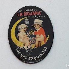 Carteles: PEQUEÑO ESPEJO LITOGRAFIADO PUBLICIDAD CHOCOLATES LA RIOJANA MALAGA , MEDIDAS 4,4X7 CM.. Lote 214004666