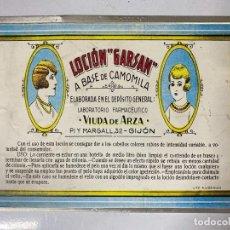 Carteles: CHAPA METALICA DE LOCION GARSAN A BASE DE CAMOLILA. GIJON. MEDIDAS APROX.: 20 X 28 CM. Lote 214092113