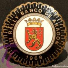 Carteles: PLACA CHAPA ESMALTADA III RALLY BANCO DE ARAGON 1969. Lote 217656098