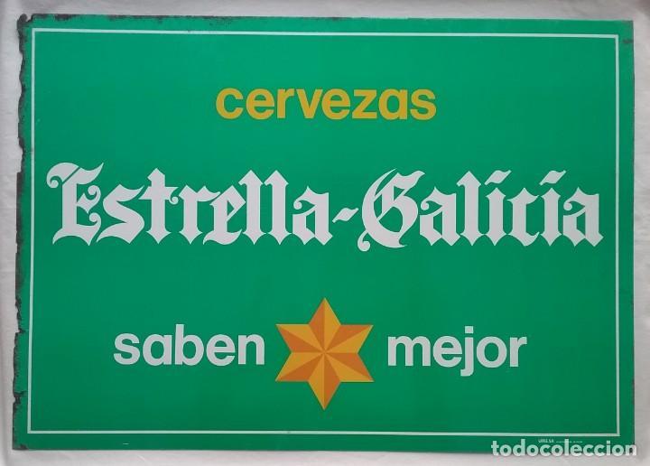 ESTRELLA GALICIA CERVEZA PLACA CHAPA PUBLICIDAD CERVEZAS (Coleccionismo - Carteles y Chapas Esmaltadas y Litografiadas)