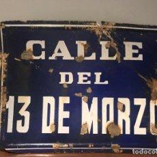 Carteles: ANTIGUA PLACA CALLE METAL ESMALTADO DEL 13 DE MARZO. Lote 219029518