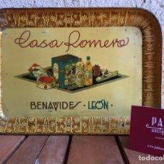 Cartazes: BANDEJA DE CHAPA LITOGRAFÍA CON PUBLICIDAD ANTIGUA AÑOS 20 30 DE CASA ROMERO - BENAVIDES LEÓN. Lote 219049470