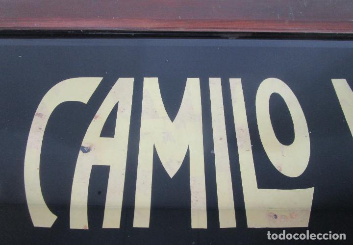 Carteles: Antiguo Cartel - Hijo de Camilo Mulleras - Fabrica Textil, Castellfollit de la Roca -Cristal Pintado - Foto 3 - 219143690