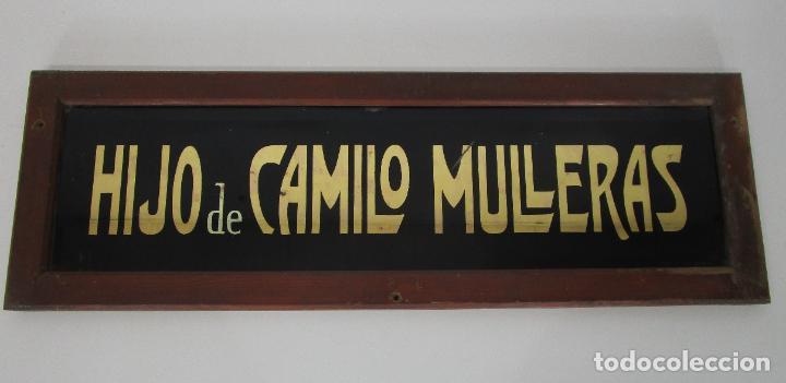 Carteles: Antiguo Cartel - Hijo de Camilo Mulleras - Fabrica Textil, Castellfollit de la Roca -Cristal Pintado - Foto 5 - 219143690