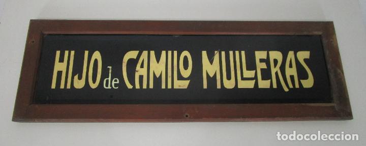 Carteles: Antiguo Cartel - Hijo de Camilo Mulleras - Fabrica Textil, Castellfollit de la Roca -Cristal Pintado - Foto 10 - 219143690