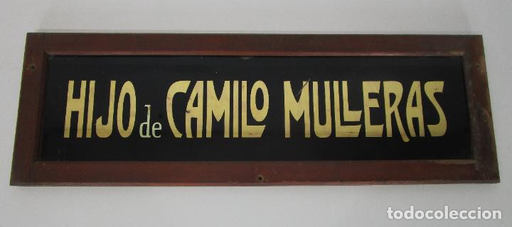 ANTIGUO CARTEL - HIJO DE CAMILO MULLERAS - FABRICA TEXTIL, CASTELLFOLLIT DE LA ROCA -CRISTAL PINTADO (Coleccionismo - Carteles y Chapas Esmaltadas y Litografiadas)