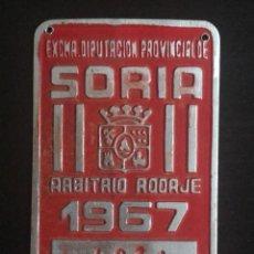 Cartazes: ANTIGUA PLACA DE ARBITRIO RODAJE DE SORIA AÑO 1967. Lote 219746611
